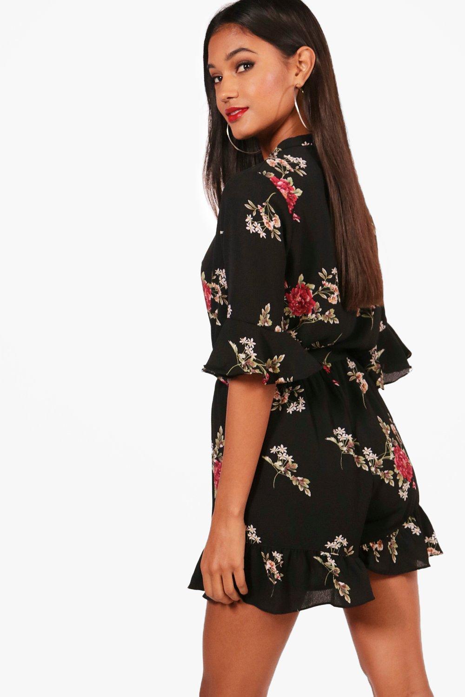 Sleeve Wrap Floral Ruffle Playsuit Over black 5qzR4wZ