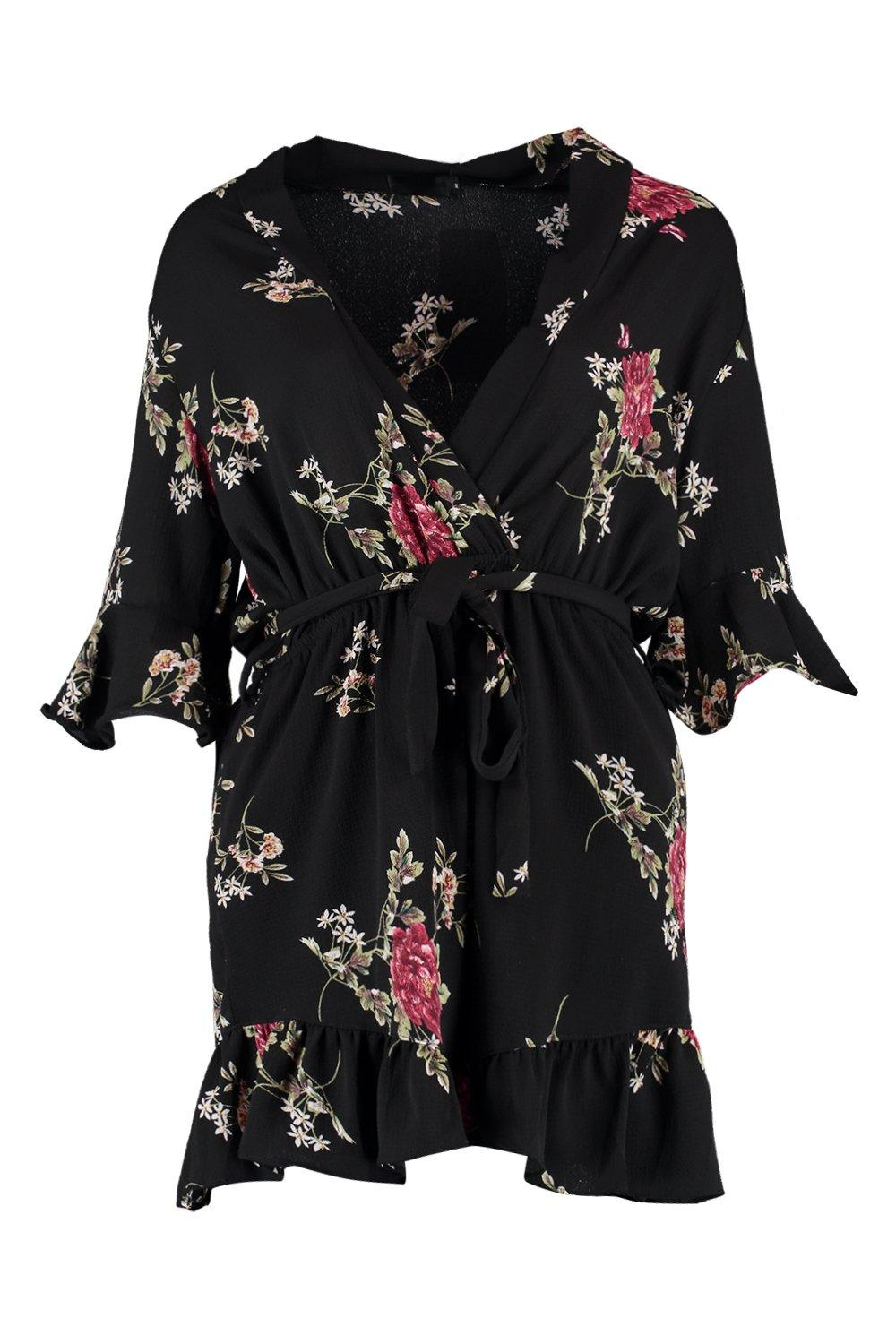 Sleeve Over Floral Wrap Playsuit black Ruffle RPq4vgyw84