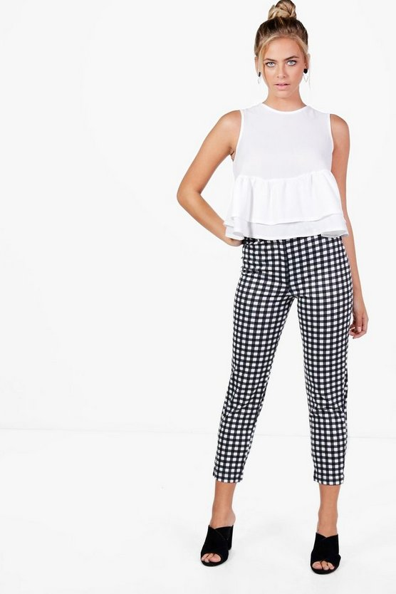 Black Georgina Gingham Stretch Skinny Trousers