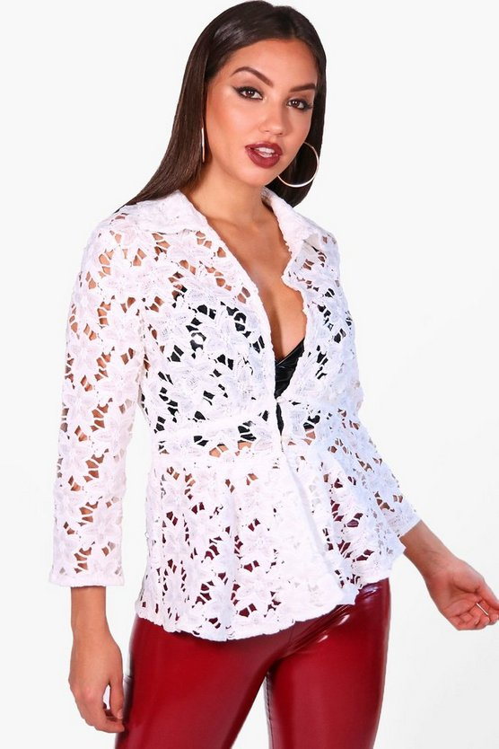 Corded Lace Plunge Open Front Shirt
