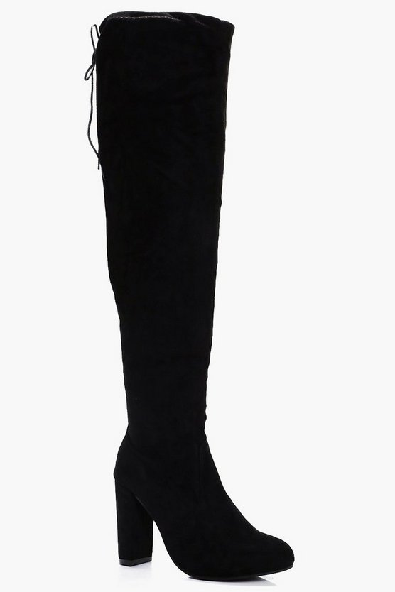 Womens Black Maria Block Heel Knee High Boots