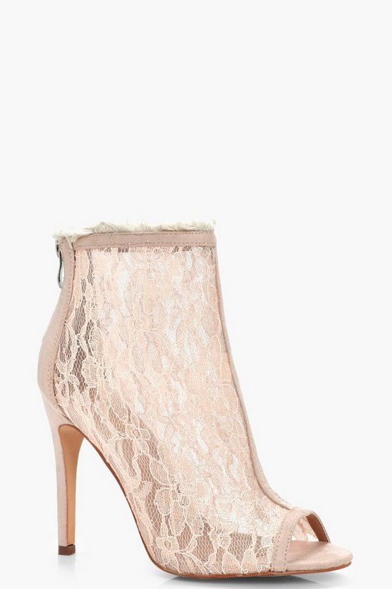Erin Peeptoe Lace Fray Detail Shoe Boots