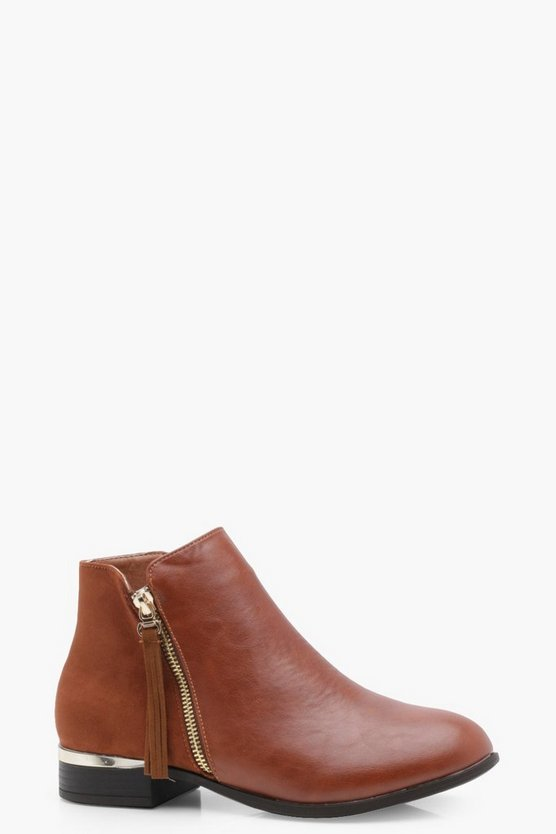 Mix Material Zip Trim Chelsea Boots