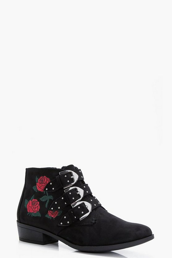 Daisy Rose Embroidered Stud Ankle Boots