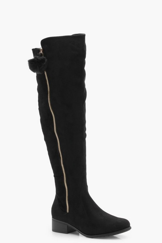 Wide Fit Pom Trim Over Knee Boots