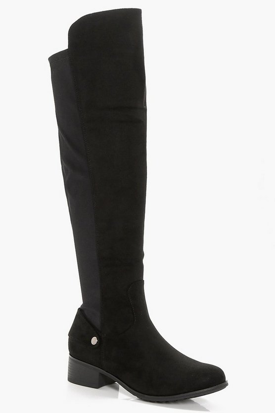 Wide Fit Stretch Back Knee High Boots