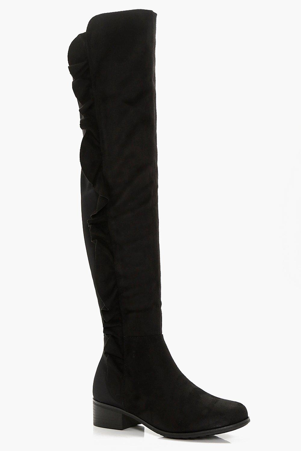 d939ccc1666 Lola Wide Fit Ripple Side Over Knee Boots