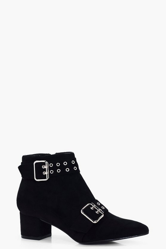 Wide Fit Eyelet & Buckle Trim Boots