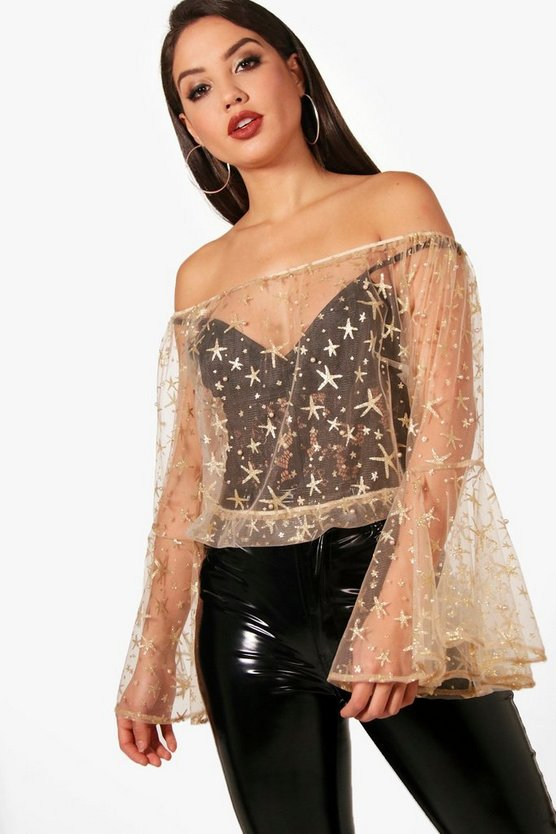 Off The Shoulder Glitter & Pearl Embellished Top