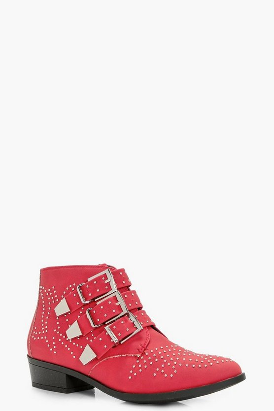 Kiki Pin Stud and Buckle Strap Ankle Boots
