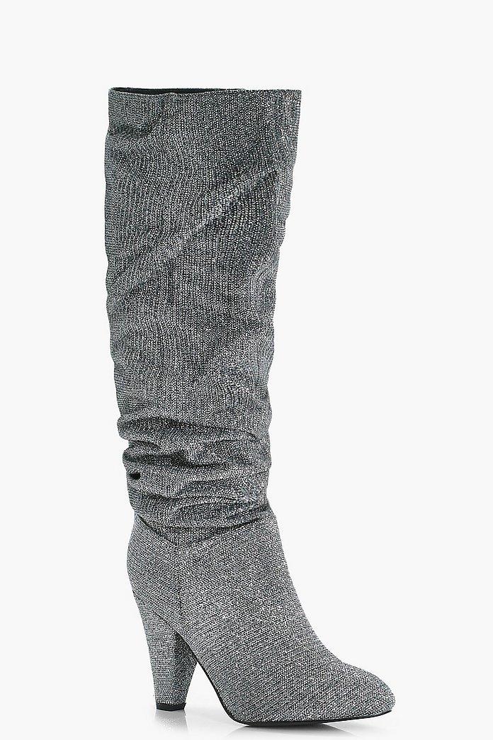 louise stivali alti al ginocchio lucidi e increspati | boohoo