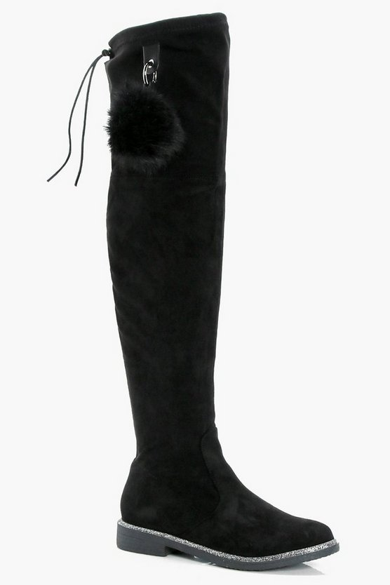 Glitter Trim Pom Detail Over the Knee Boots
