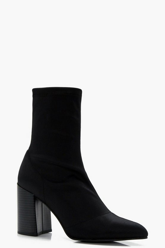 Womens Black Pointed Toe Heel Sock Boots