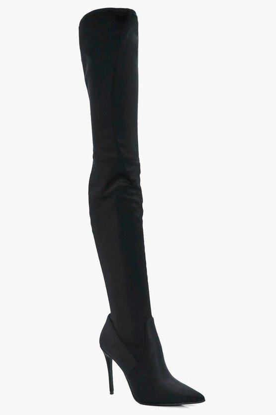 Honey Pointed Toe Stretch Over The Knee Boot
