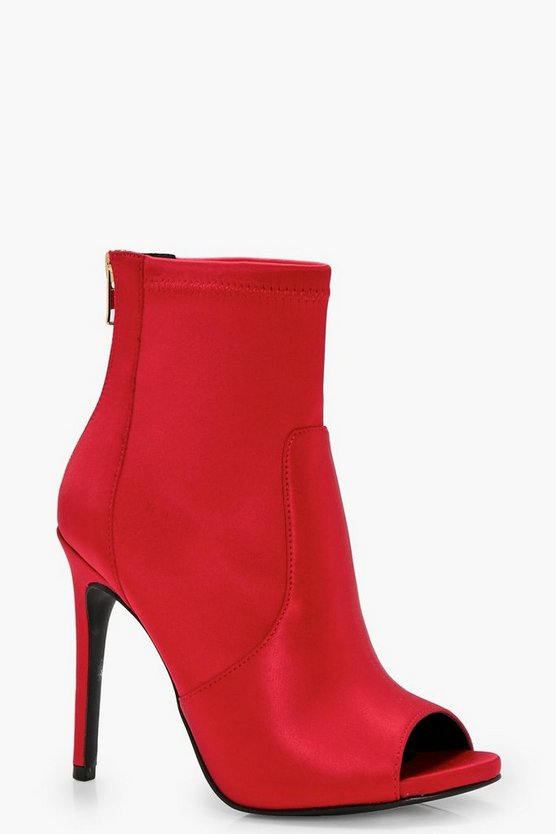 Womens Red Peeptoe Satin Sock Boots