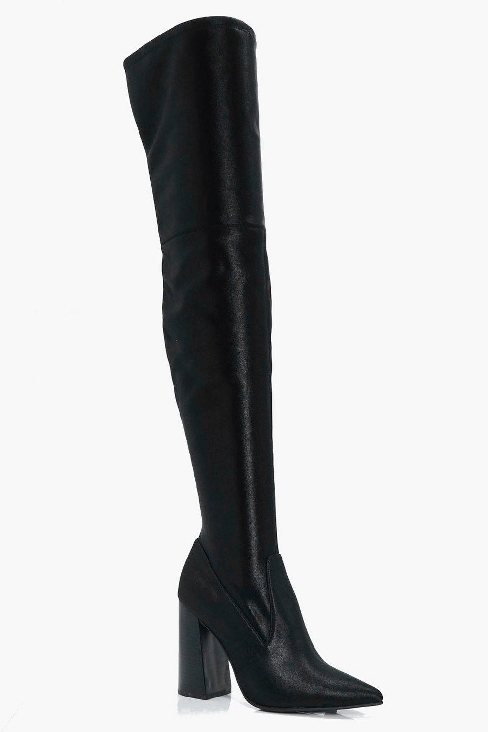 6a06c9ceb83e Womens Black Rachel Stretch Satin Pointed Over The Knee Boots. Hover to zoom