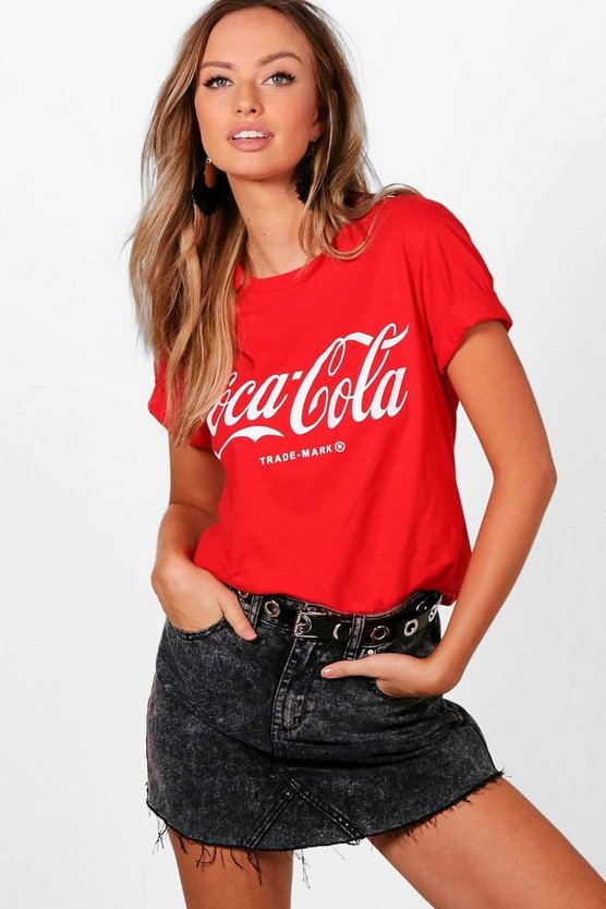 Womens Red Claudia Coca Cola Oversized Tee