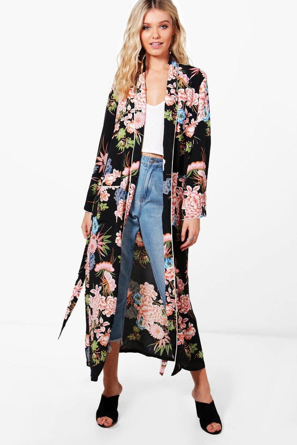 d66de843067b Premium Floral Print Kimono   Boohoo