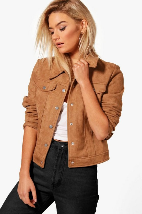 Anna Faux Suede Trucker Jacket