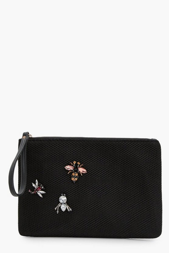 Sarah Embellished Insect Zip Top Clutch