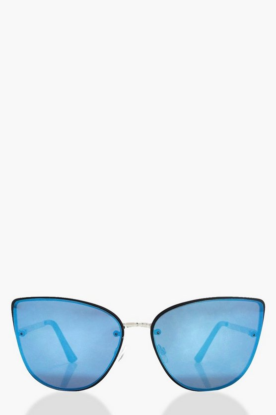 Charlotte Oversized Blue Lens Frameless Sunglasses