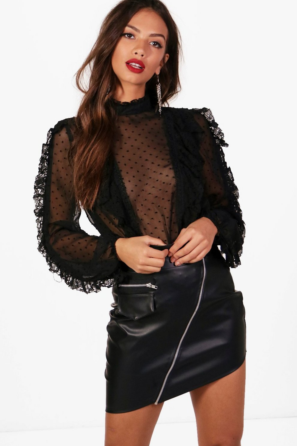 e68258f399d8a Kyra Spot Mesh Lace Ruffle High Neck Blouse