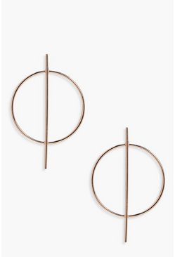 Gold Circle And Bar Hoop Earrings