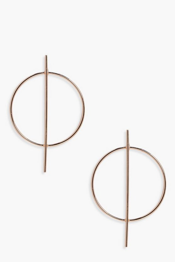 Womens Gold Circle And Bar Hoop Earrings