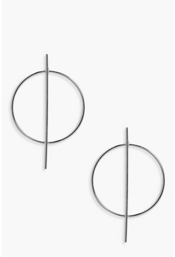 Womens Silver Circle And Bar Hoop Earrings