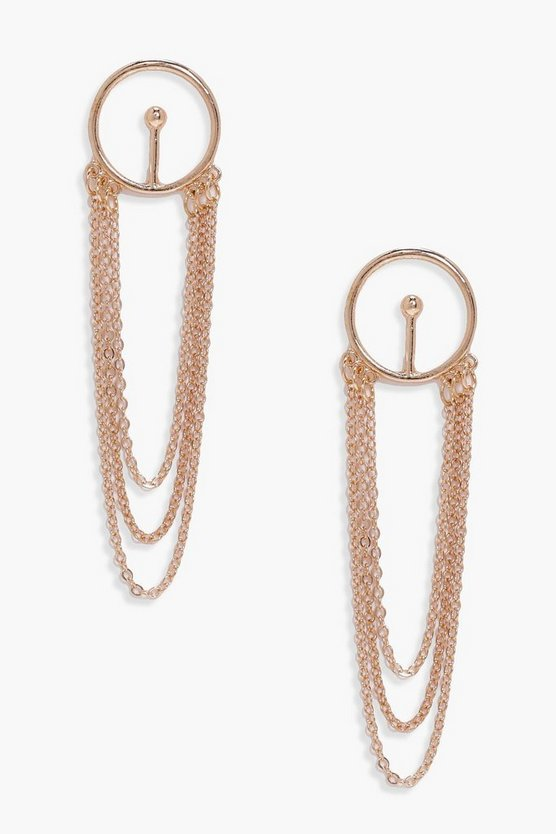 Gold Lily Circle And Chain Tassel Earrings