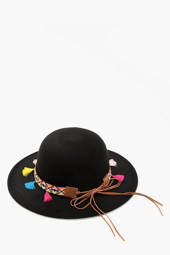 Leah Tassel And Aztec Felt Floppy Hat