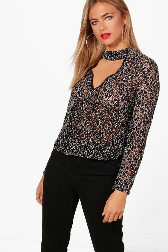 Lace Choker Sleeve Blouse