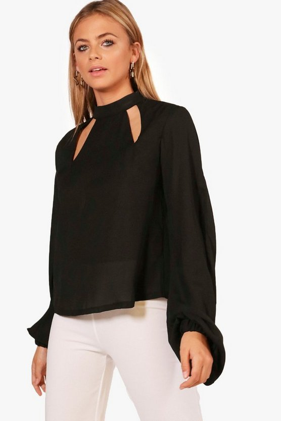 Cut Out High Neck Blouse
