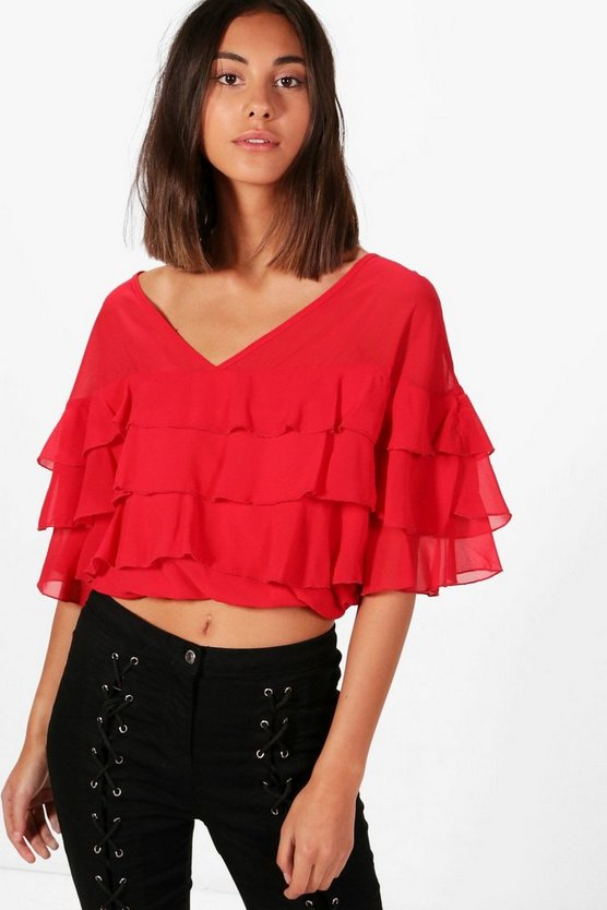 Kassidy Ruffle Shirred Batwing Top