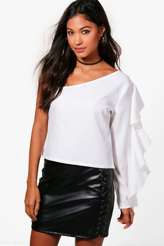 One shoulder Ruffle Woven Top