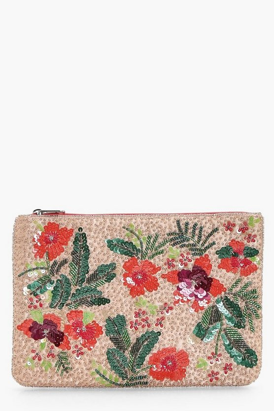 Lucy Beaded Floral Zip Top Clutch