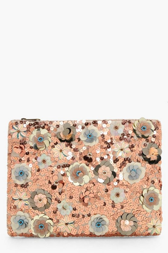 3D Embellished Zip Top Clutch