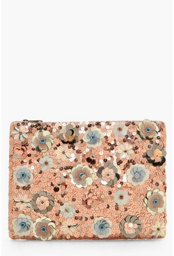 Womens Silver 3D Embellished Zip Top Clutch Bag