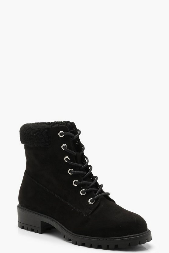 Black Shearling Collar Hiker Boots