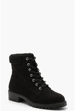 Shearling Collar Hiker Boots, Black, Donna