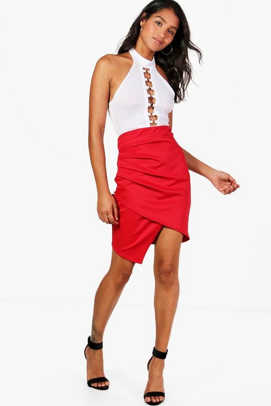 Gracie Rouched Side Asymetric Mini Skirt
