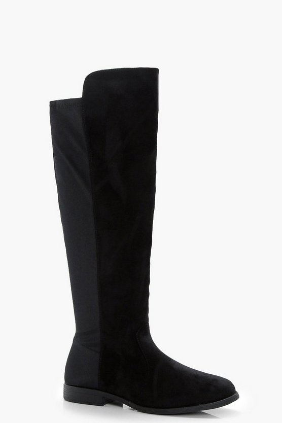 Black Stretch Back Flat Knee High Boots