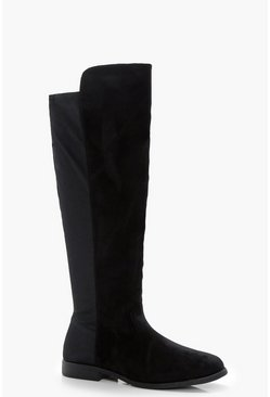 Womens Black Stretch Back Flat Knee High Boots