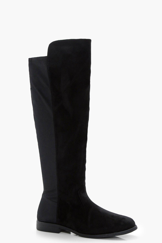 67cd10d0df8de Stretch Back Flat Knee High Boots