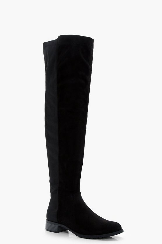 Stretch Back Flat Over The Knee Boots
