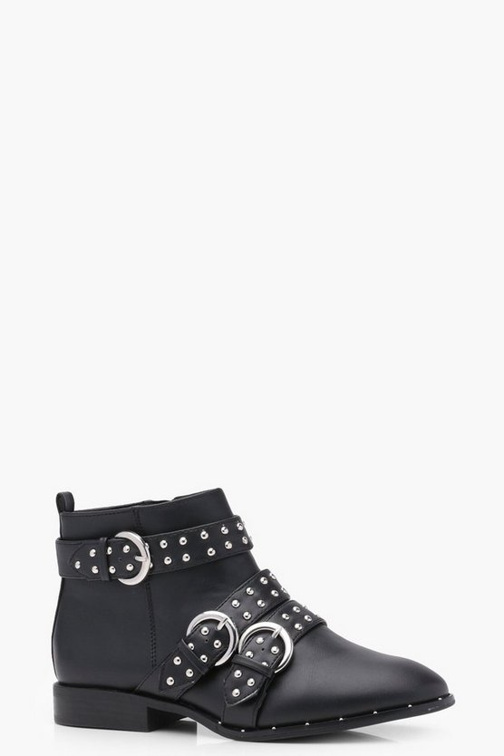 Pin Stud Strap Ankle Boots