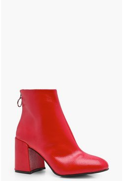 Womens Red Patent Block Heel Ankle Shoe Boots