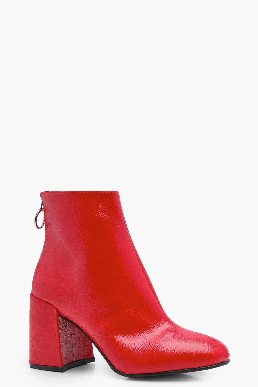6f15c146a56 Patent Block Heel Ankle Shoe Boots | Boohoo