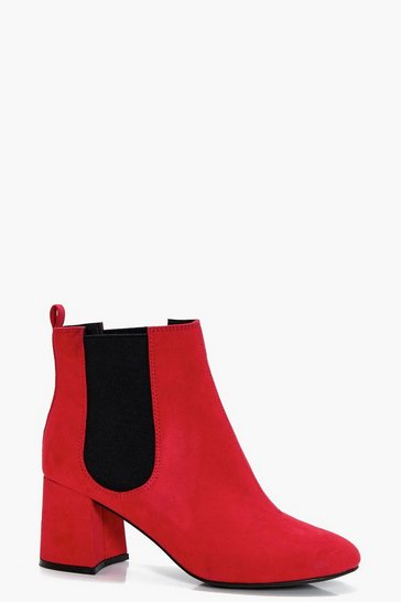 Womens Red Pull On Elastic Insert Chelsea Boots