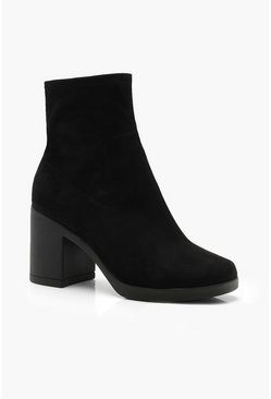 Block Heel Sock Boots, Black, Donna